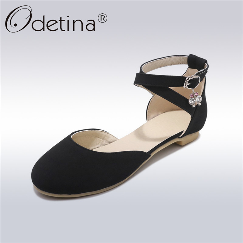 odetina 2018 new fashion ballet flats for womem solid ankle strap shoes flock buckle strap flats elegant shoes big size 33-43 odetina 2017 new summer women ankle strap ballet flats buckle hollow out flat shoes pointed toe ladies comfortable casual shoes