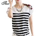 Hot Sale Lady Short Tees Black White Striped Design Size S-3XL Summer Women T shirts Fashion Slim Fit Style Lady Chiffon Tops