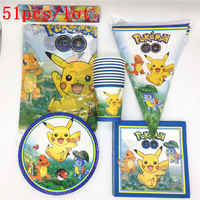 51Pcs/Lot Pokemon Go Pikachu Kids Girls Birthday Party Decorations Plates Paper Cups Tablecloth Flags Package Party Supplies