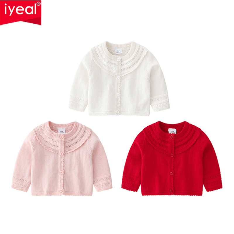IYEAL Princess Baby Girl Knitted Sweater Long Sleeve Cotton Children's Cardigan Sweater Newborn Outerwear Infant Girls Clothing