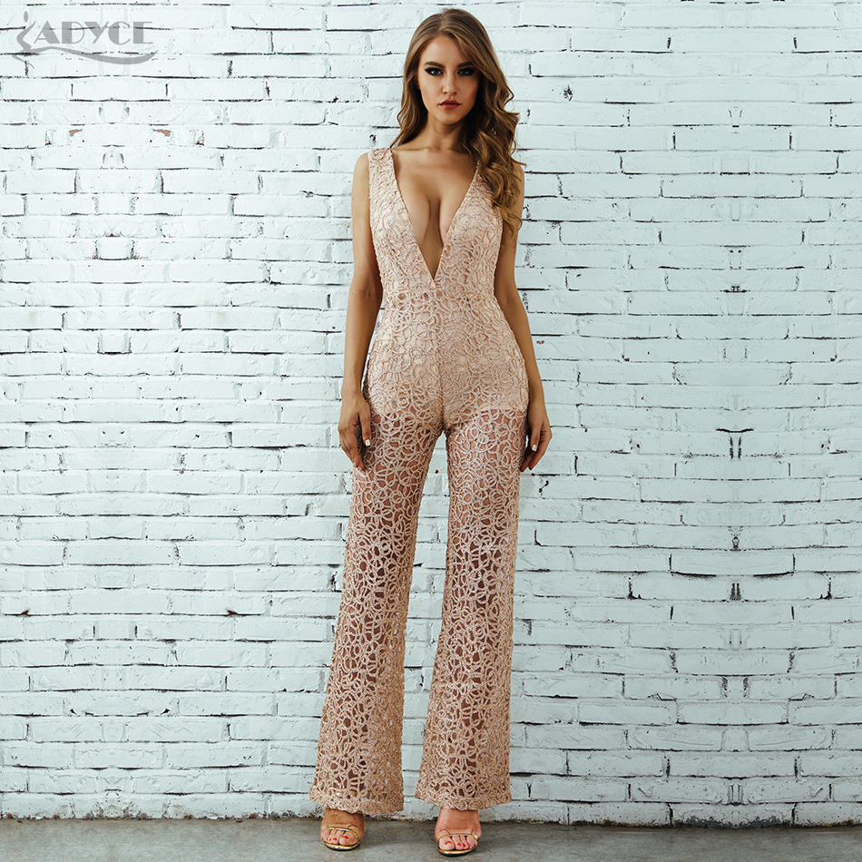 ADYCE 2018 Summer Jumpsuit Sleeveless High Waist Lady Clubwear Deep V Neck Hollow Out Playsuit Bodycon Celebrity Party Jumpsuits