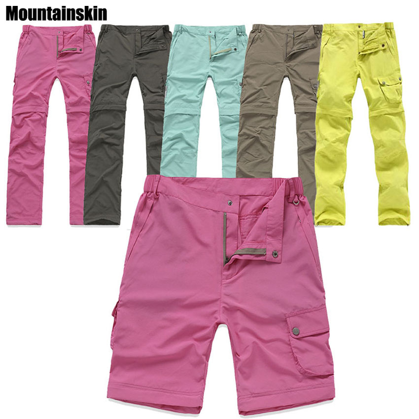 Outdoor Quick Dry Removable Hiking&Camping Pants Women Summer Breathable Trekking Trousers UV Protection Fishing Pants RW082 vector quick dry pants men summer breathable camping hiking trousers removable trekking hunting hiking pants 50021