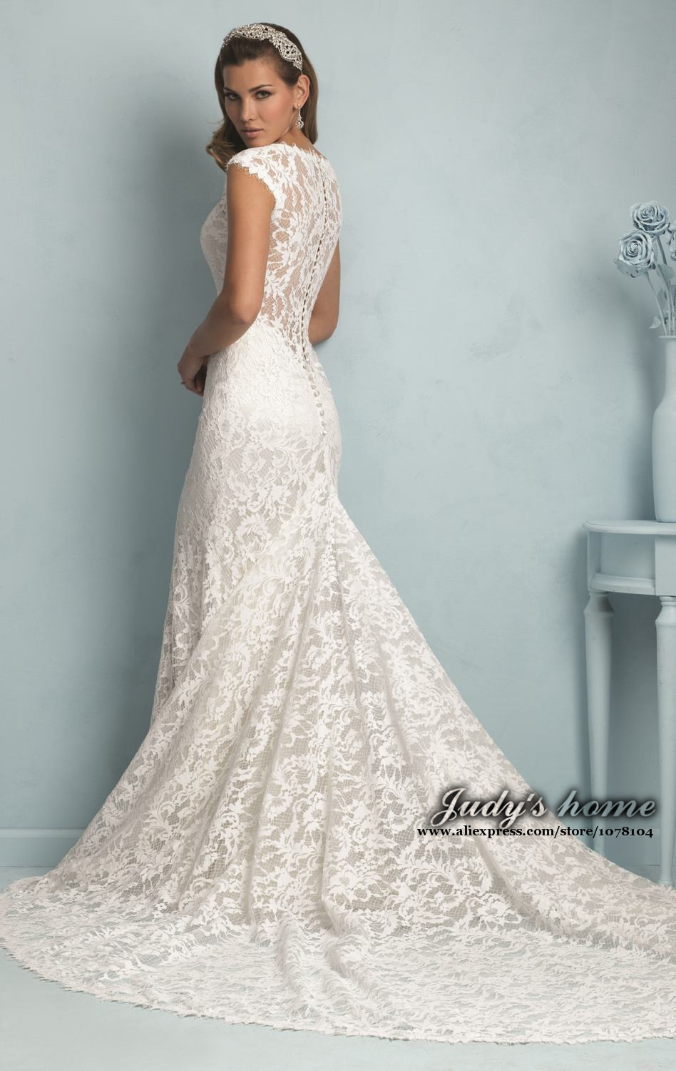 sheer lace back wedding gown sheer lace wedding dress Style Satin Aline With A Vneckline And Dropped Waist Bodice Amzing Spring Backless Sheer Lace Wedding Dresses