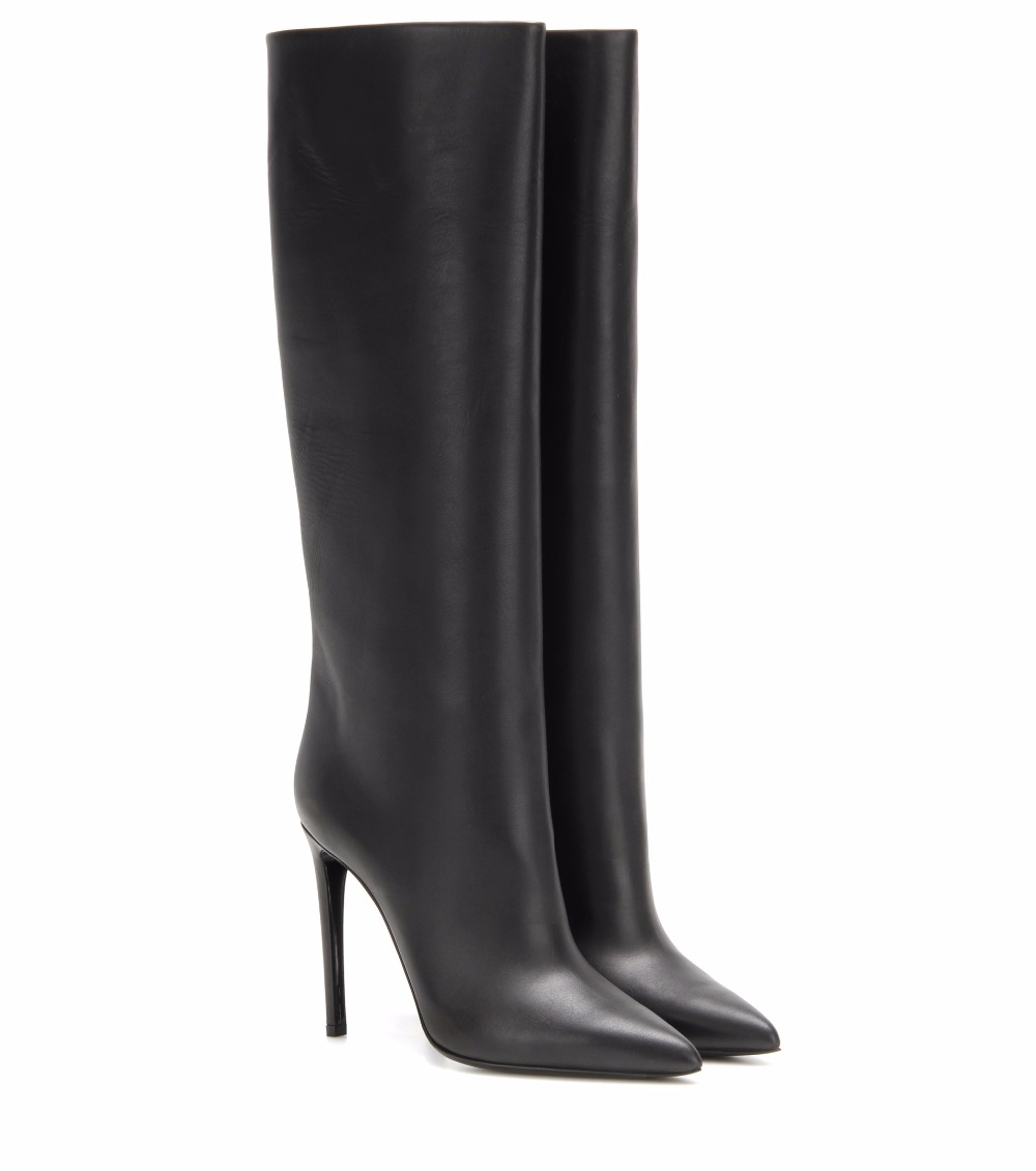 black knee high boots slip on high heel Pointed toe (2)