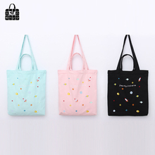 ROSEDIARY Colorful universe embroidery 100 cotton canvas Handbags large capacity Shopping Beach Bags Women Girl Shoulder
