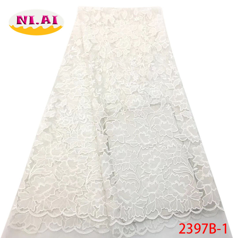 France Lace Fabric 2019 Nigeria White Lace Fabric For Party Flower African Fabric Lace MR2397B