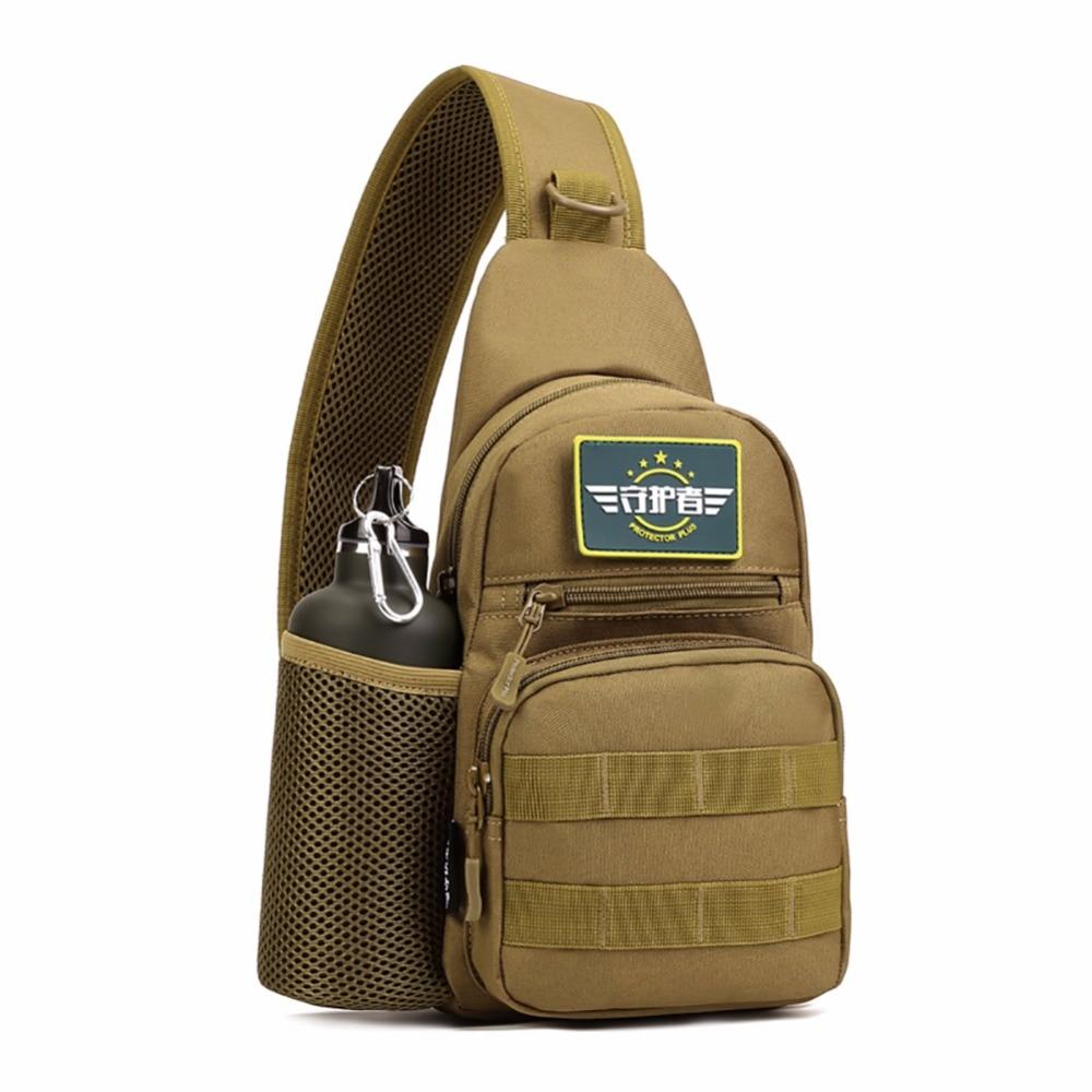 Utomhus Vattentäta Män Oxford Shoulder Messenger Crossbody Väska Militär Tactics Bröstpaket Med Flaskväska Man Backpack