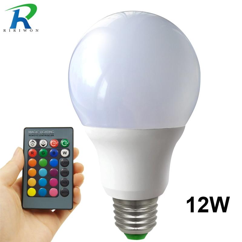 Фото LED RGB Bulbs Lamp E27 RGB 12W LED RGB Bulb Light 110V 220V With Remote Control 16 Color Change Lampada LED Luz A80