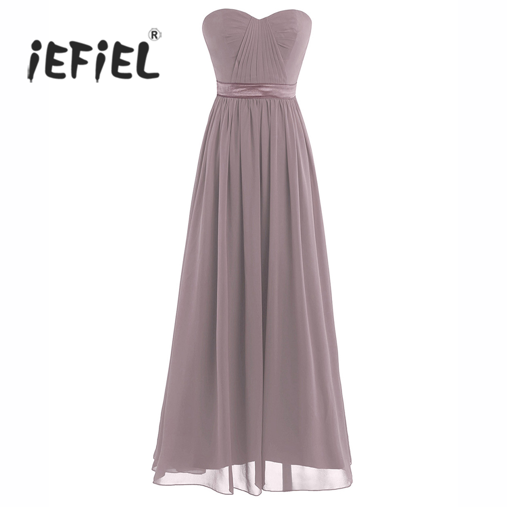 iEFiEL Women Ladies Chiffon Pleated High-waisted Strapless Formal Birthday Party Maxi Dress Prom Gown Long Dress Summer Dress