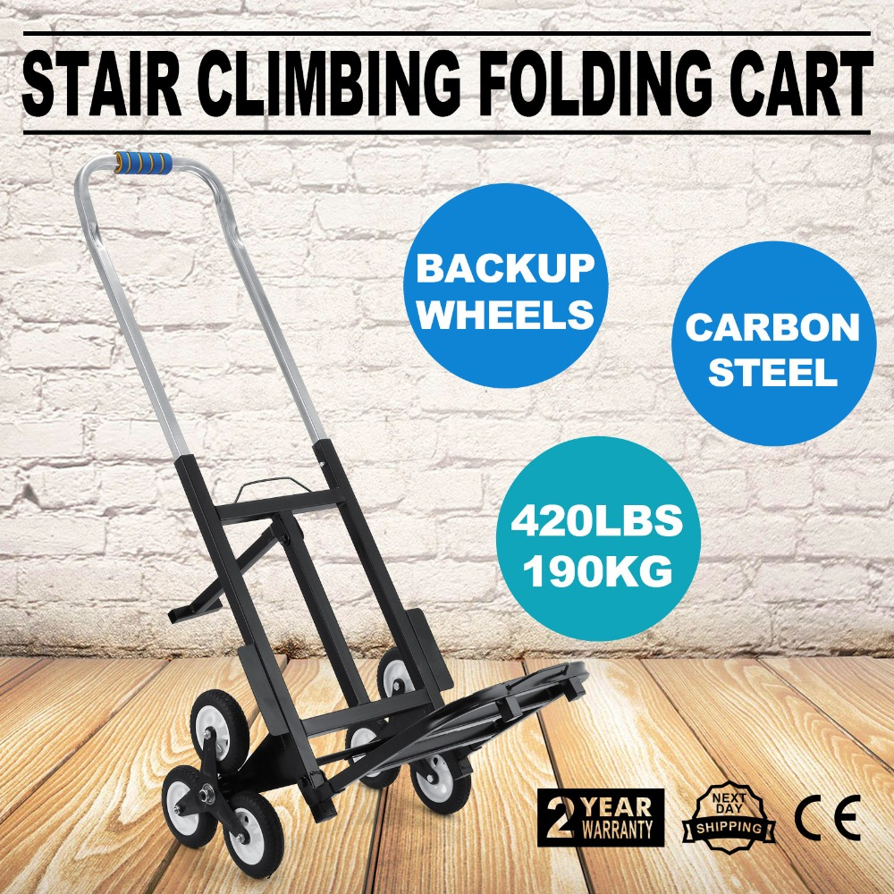 Stair Climbing Cart 420 Lb Capacity All Terrain Stair Climbing Hand Truck With Backup Wheels Portable Folding Hand Truck Heavy
