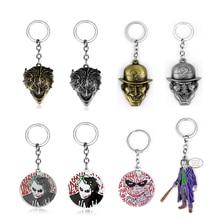 Fashion 2 Colors Batman The Riddler Joker Keychain Llaveros Figure Head Metal Key Chain Ring Chaveiro