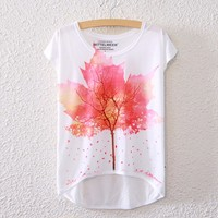 2016 Brand New Polyester T Shirt Women Short Sleeve T Shirts O Neck Causal Loose Maple