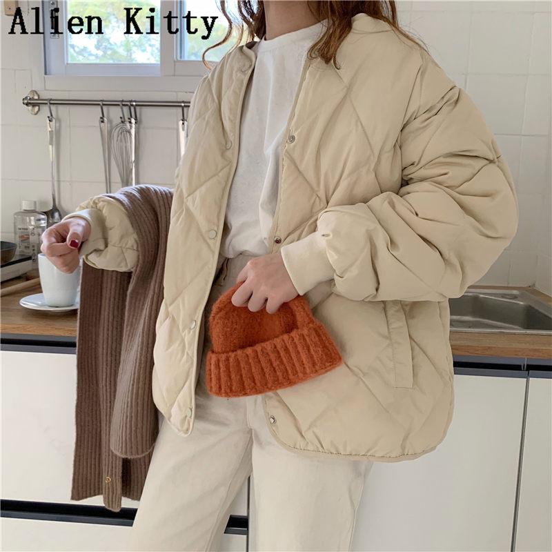 Alien Kitty Winter Mode Outwear Casual Jacken Solide Tops Allgleiches Einfache Frische Stilvolle Warme Frauen Mantel Lose Verdicken