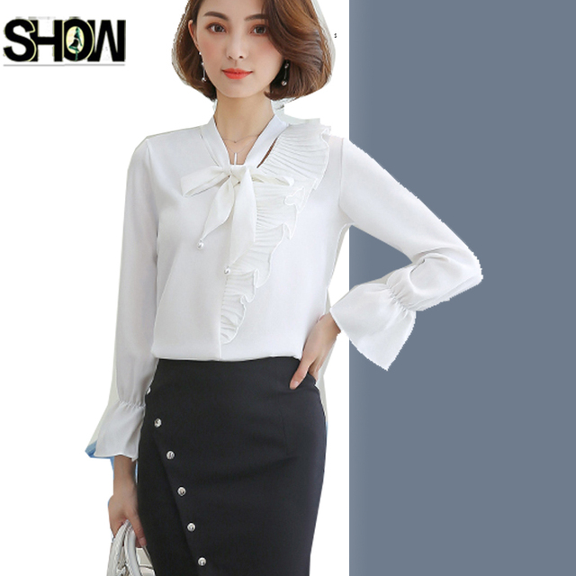 99f5c772bf3 Work Wear Tops New Hot Women Autumn Spring Design Flare Sleeve Elegant  Formal Ladies Office Cute Bow Top V Neck Chiffon Blouse