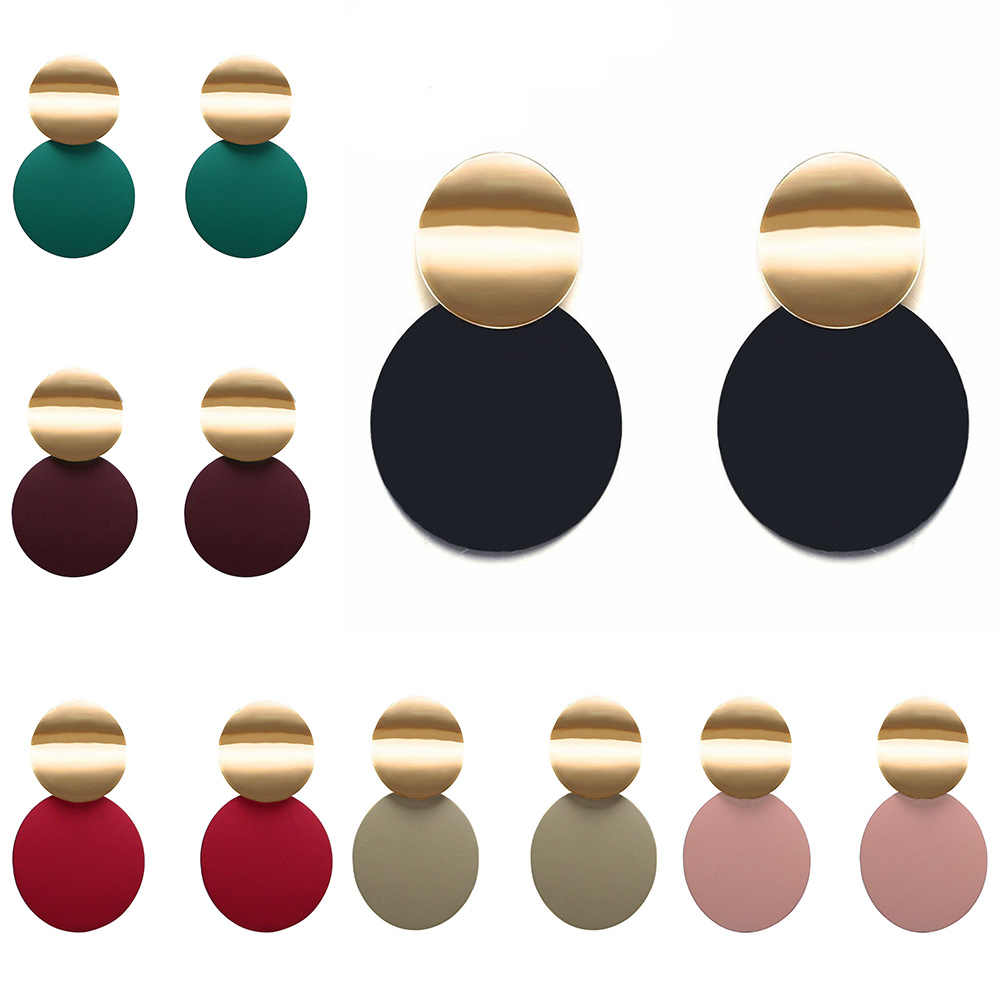 7 color metal pendant earrings double round geometric earrings fashion big earrings for women wedding jewelry earrings 2019 PP0