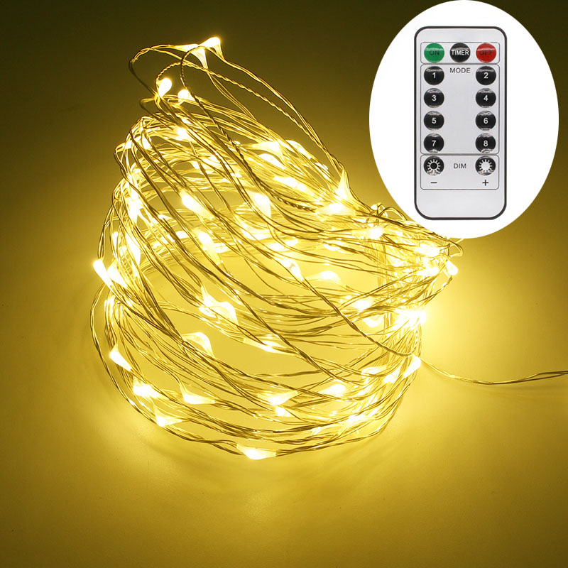 led string lights 10M 33ft 100 LED Battery operated outdoor copper wire christmas festival wedding party decoration Fairy Lights