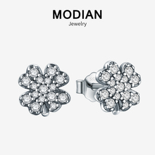 Modian Fashion Exquisite Crystal Jewelry 100% 925 Sterling Silver Flower Clover Zircon Charm Stud Earrings For Women Party Gift