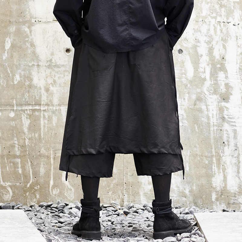Для мужчин Японии Стиль кимоно брюки мужской моды Повседневное свободные брюки этап носить широкие Юбка Пант панк хип-хоп одежда костюмы