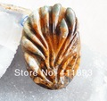 Carved Petrified Wood Opal Flower Pendant Bead,61x43x15mm,59.42g