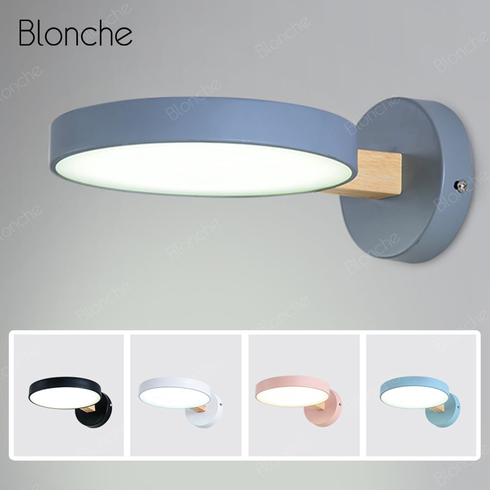 LED Modern Wall Lamp Nordic Wood Wall Light Bedroom Dimmable Bedside Lamp Eye Protection Sconce for Living Room Study Luminaire