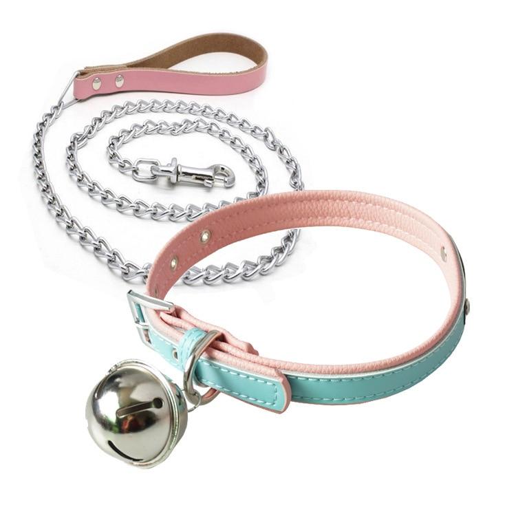 Leather collar Bells bdsm bondage restraints fetish collar sex slave collar metal chain adult games sex toys couples