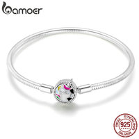 BAMOER New Arrival 925 Sterling Silver Colorful Enamel Women Bracelets Bangles for Women Sterling Silver Jewelry SCB083