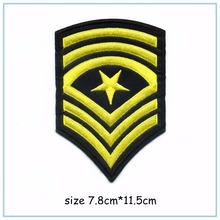 DOUBLEHEE 008 Yellow Army College Style Embroidery Patches Iron On Or Sew Fabric Sticker For Clothes Embroidered Appliques DIY