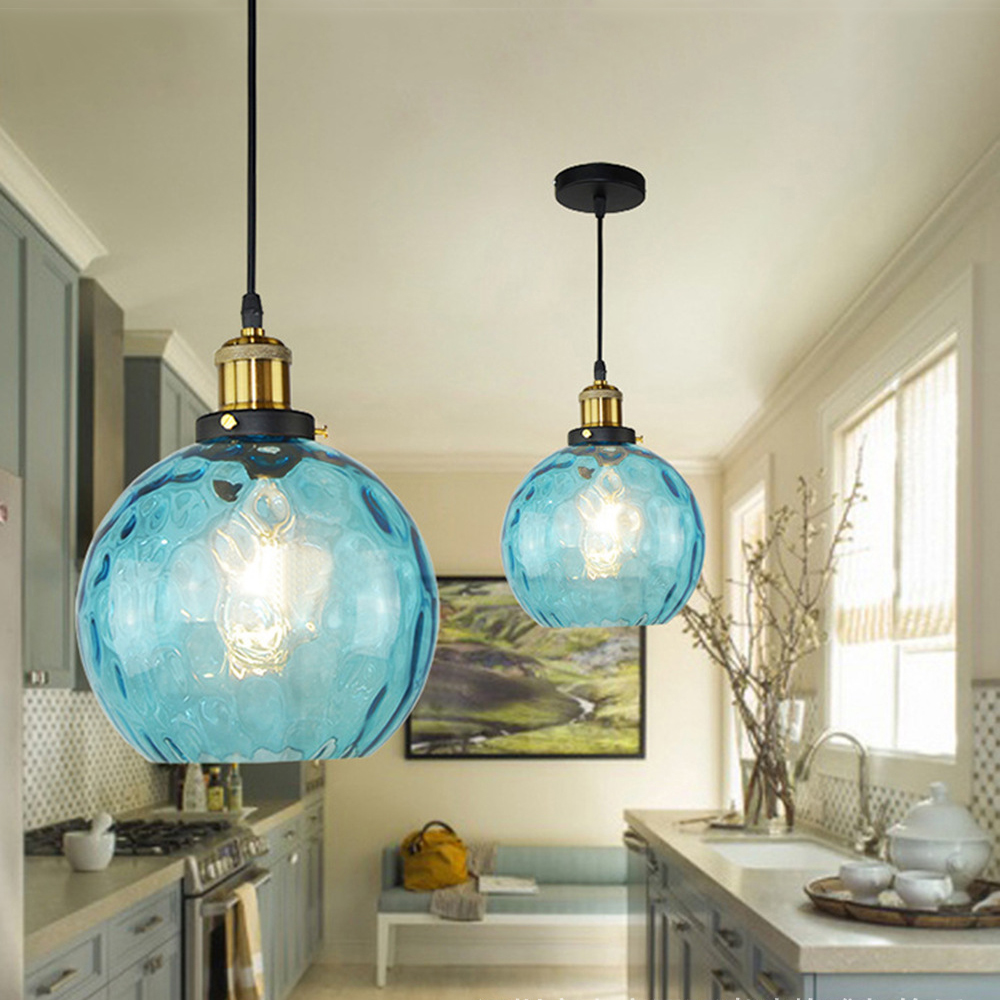 Loft modern blue color glass pendant light led e27 vintage nordic hanging lamp with 3 size for bedroom lobby restaurant office in pendant lights from