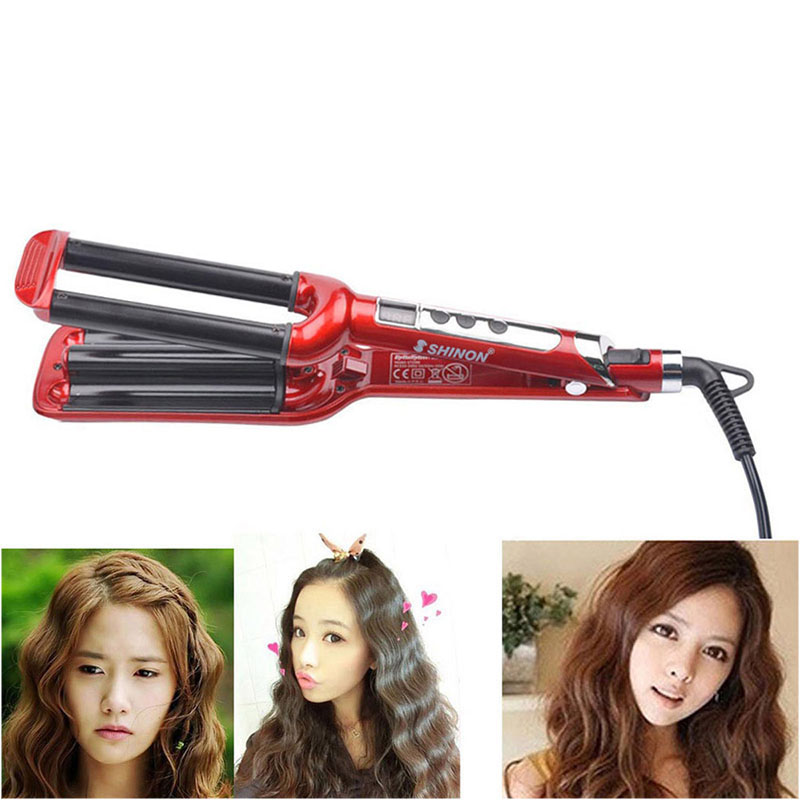 LCD dicplay Electric Ceramic Styler Hair Waver curler 3 Triple Barrel Wavers Hair Styling Tools Hair Curling Iron Curling Wand ckeyin ceramic styler 110v 240v 2 triple barrel waver hair curler and curling iron curling wand curl double wand big wave tool