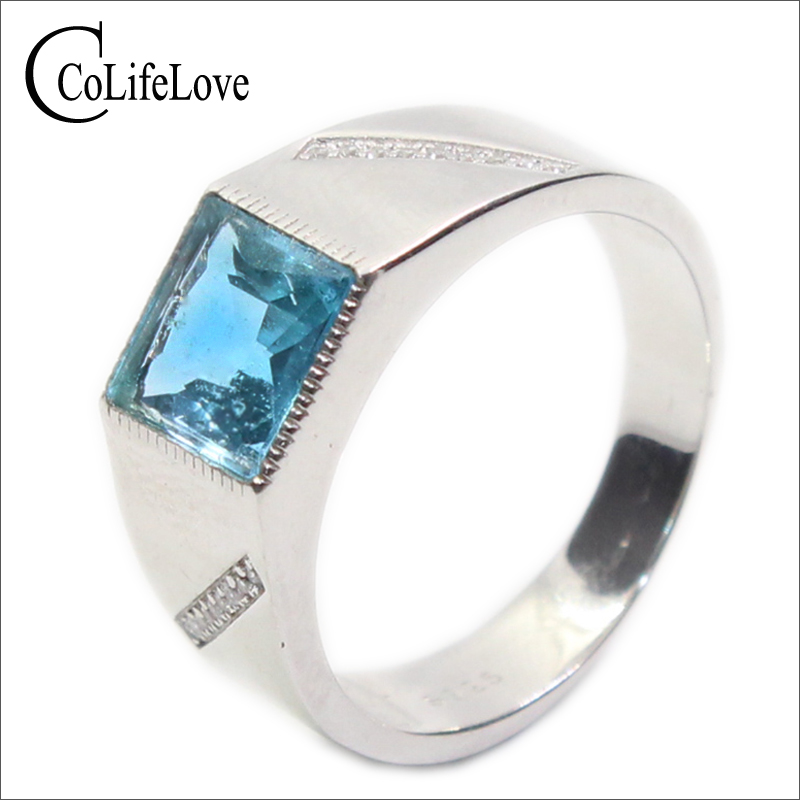 100 natural blue topaz man ring classic silver gemstone ring for man 8mm 8mm topaz stone