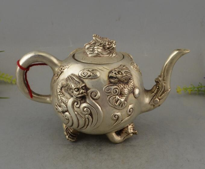 Chinese antique white copper five dragon teapot crafts Statue