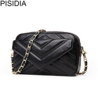 PISIDIA luxury 2018 women handbag small genuine leather fashion designer shoulder bag women messenger bags chain crossbody bag