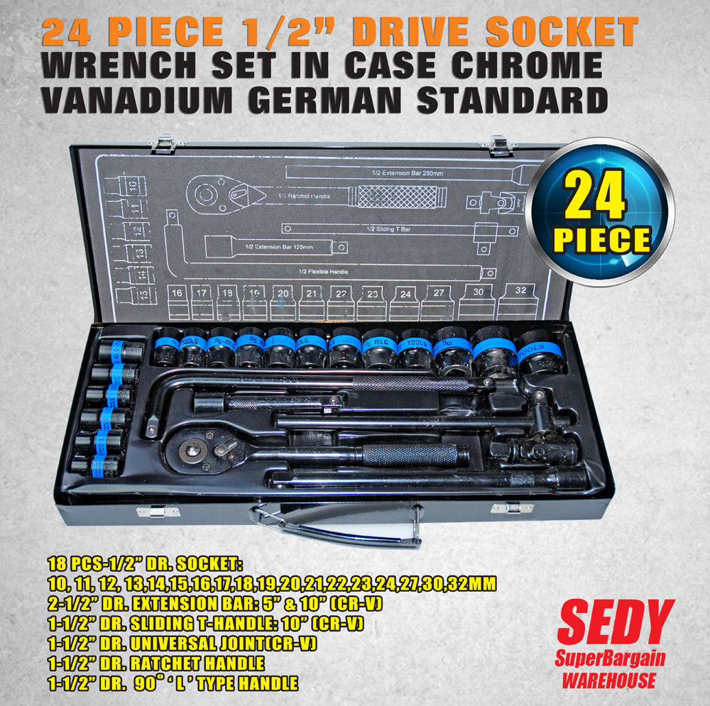 NEW 24 Piece 1/2 Drive Wrench Socket Set Ratchet Spanner Extension Adaptor CR-V 46pcs socket set 1 4 drive ratchet wrench spanner multifunctional combination household tool kit car repair tools set