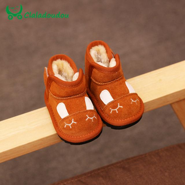 2016 0-2Y Girls Infantil Botas Niños Zapatos de Niño Lindo Conejo Caliente Zapatos infantiles Para Niños de Bebé Botas Para la Nieve de Invierno Zapatos de Los Niños En Línea