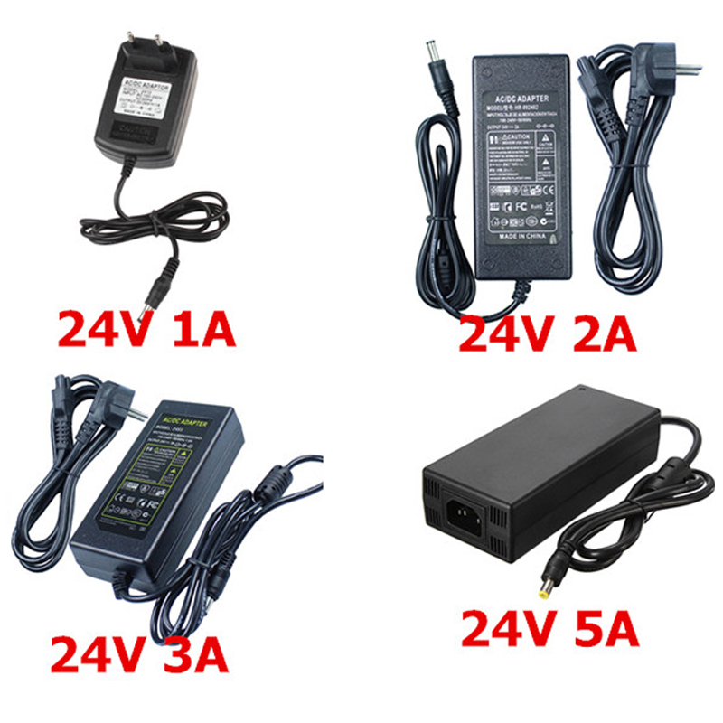 Адаптер питания для светодиодных лент, преобразователь переменного тока в постоянный ток 24 В, 1 А, 2 А, 3 А, 5 А, 24 В