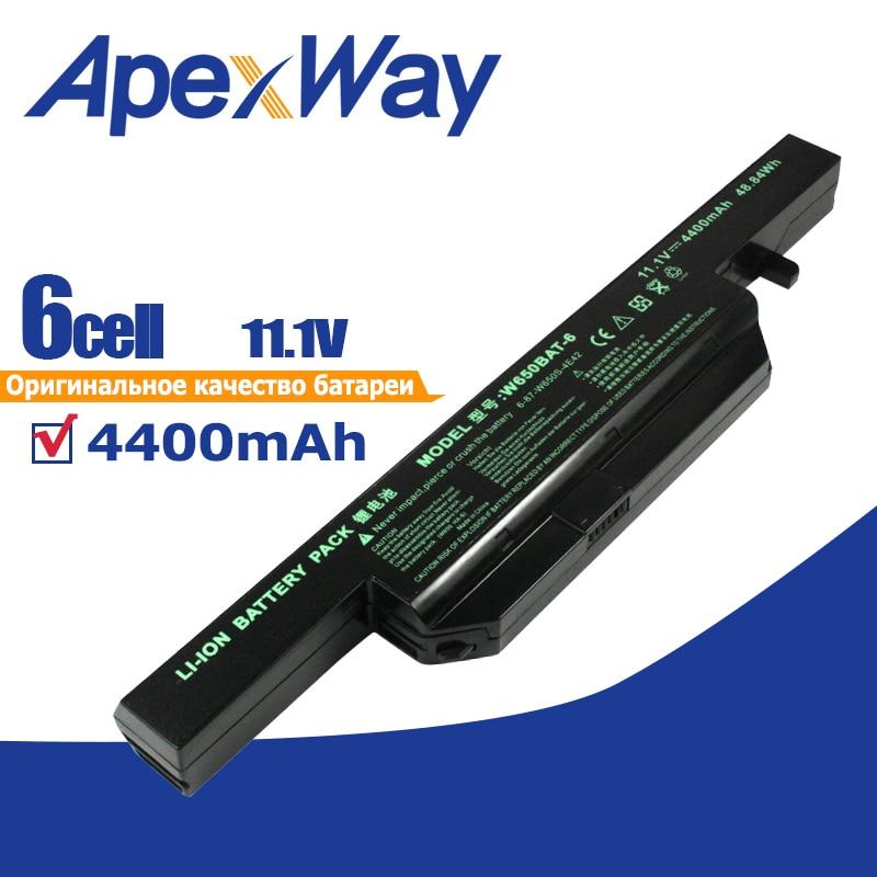 6 Cells 4400mAh Laptop Battery For Clevo W650BAT-6 6-87-W650-4E42 K590C-I3 K610C-I5 K570N-I3 K710C-I7 G150S K650D K750D K4 K5 P4