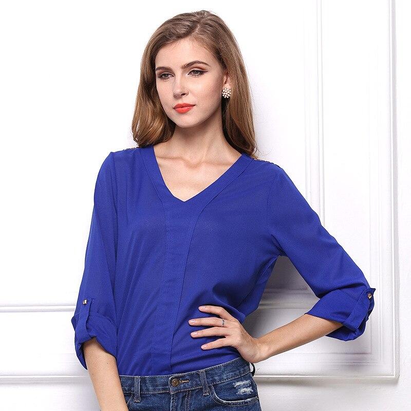 3b34d56fd BomHCS Fashion Women V-Neck Long Sleeve Loose Casual Chiffon Shirt Blouse  Tops