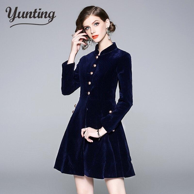 Autumn New Vintage Velvet Dress Long Sleeve Dresses Elegant Celebrity Evening Party Vestidos Women's Clothing