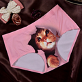 Gato das senhoras roupa interior sexy anti seda gelo calças de segurança sem costura Triângulo Maotou cabeça miau estrela dos desenhos animados 3D