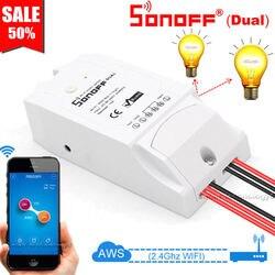Двухканальный Wi-Fi выключатель Sonoff с управлением несколькими устройствами, двухканальный беспроводной смарт-выключатель с поддержкой Alexa ...