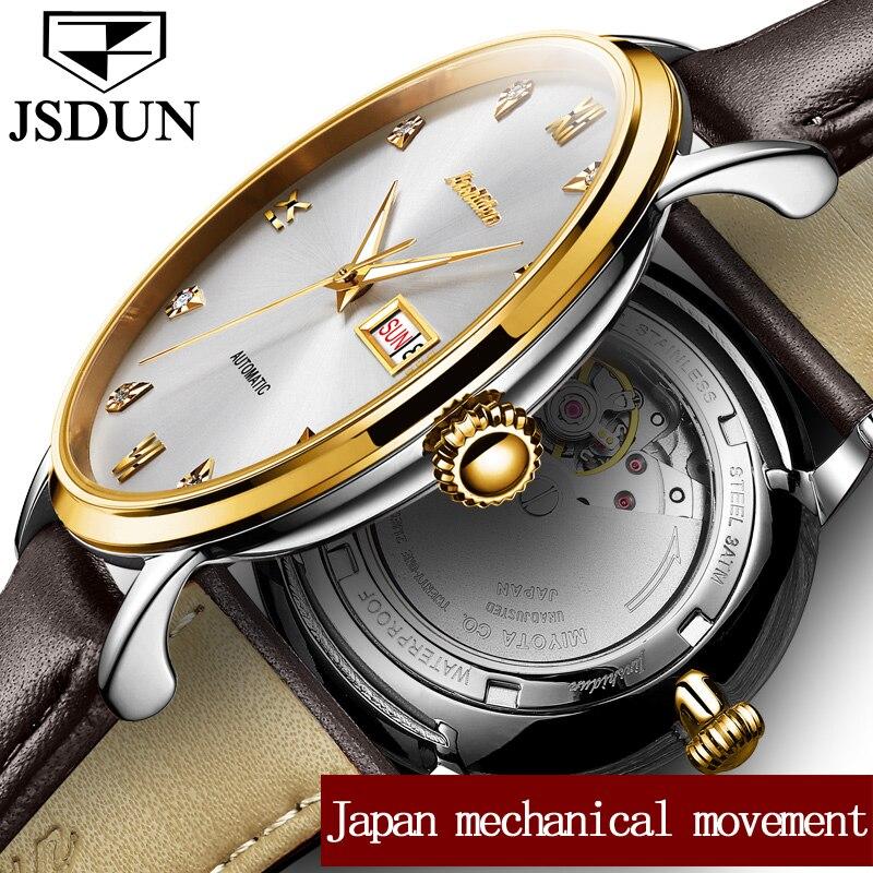 JSDUN Montre hommes Mécanique Montres Étanches relogio masculino Japon Mouvement Automatique Date Semaine En Cuir Montres Horloge saat
