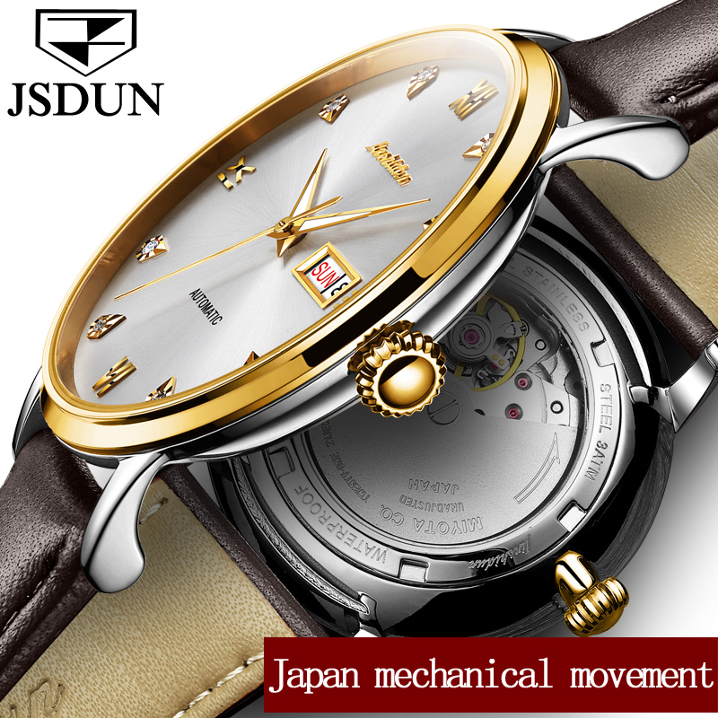 JSDUN Watch men Mechanical Watches Waterproof relogio masculino Japan Automatic Movement Date Week Leather Watches Clock saat read brand tops automatic watches men minimalism luxury black watch men full steel relogio japan movement week and date 8082