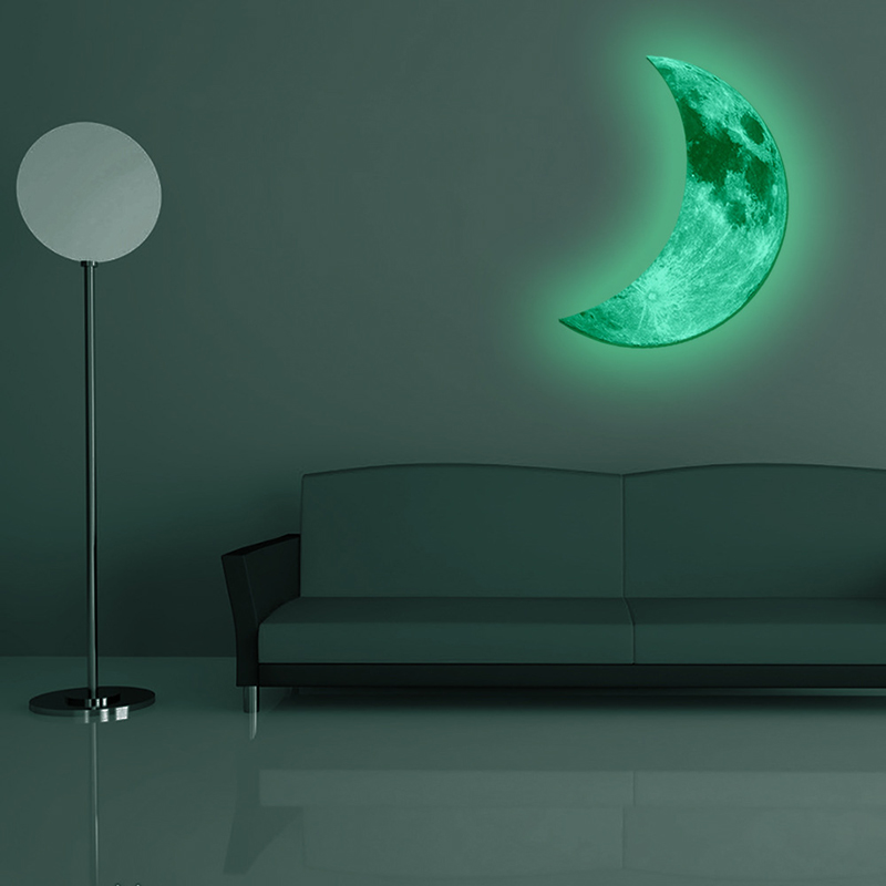 50cmx32cm Creative Removable Waterproof Noctilucent Crescent Moon Wall Sticker Bedroom Home Decoration Kids Room Ornament