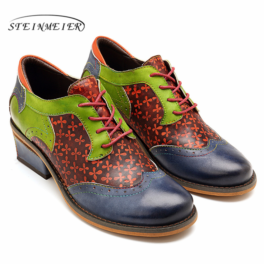 Genuine cow leather Retro lady Pumps casual shoes vintage women handmade oxford shoes for women blue green 2019 spring