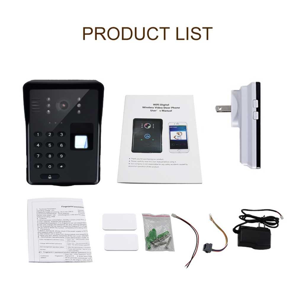 Wifi wideodomofon inteligentny dzwonek bezprzewodowy hasło rfid drzwi domofon telefoniczny odcisk palca odblokuj mobilny wideodomofon