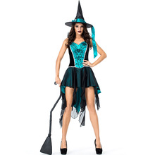 Umorden Womens Enchanting Witch Costume Blue Black Panne Embroidery Sling Dress Halloween Classic Witches Costumes Cosplay