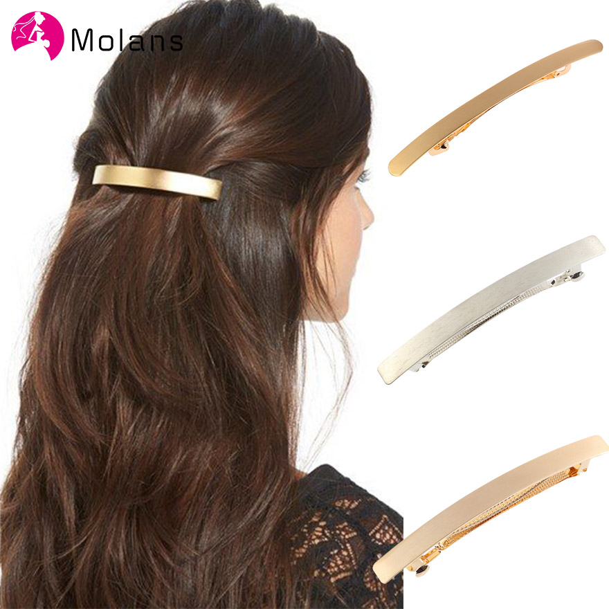 Molans Vintage Gold Silver Hair Clips Simple One-word Hairclips Solid Geometry Hairpins Horsetail Clip Girls Hair Accessories
