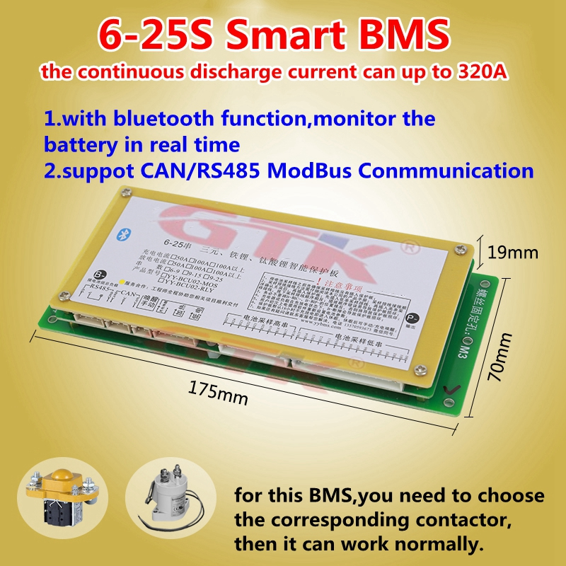 6S 7S 10S 13S 16S 20S 24S 25S 300A Smart BMS with bluetooth App RS485 conmmunication for Li-ion Lifepo4 LTO battery pack