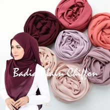 Jeden kawałek wysokiej jakości gorące kobiety muzułmańskie w jednolitym kolorze gładka szyfonowa hijabs długi szal z żorżety szale islamskie nakrycia głowy okłady szaliki