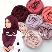One piece high quality hot women muslim solid plain chiffon hijabs long georgette scarf shawls islamic headwear wraps scarves cheap MECON HING Adult Shawl Wrap Fashion 175cm chiffon hijab shawl wrap 83 colors plain solid chiffon hijab women chiffon hijab scarf
